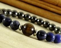 hematite bracelet sodalite tiger eye mens jewelry men bead bracelet for protection amulet husband gift for husband birthday gift bracelet