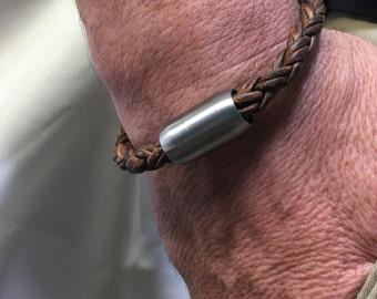 Mens Leather Bracelet-Braided Leather Bracelet-Mens Bracelet-Mens Jewelry-Stainless Steel Jewelry-Gifts for Him-Groomsmen-Bracelet-Fathers