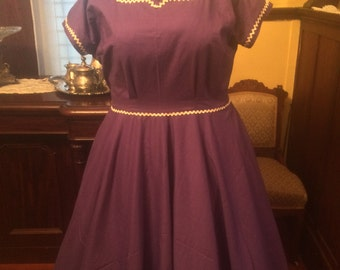 1950s vintage purple plus size dress circle skirt