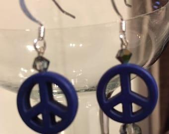 Sterling Silver Howlite Peace-Symbol Earrings