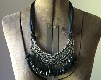 Vintage Metal Bib Statement Necklace