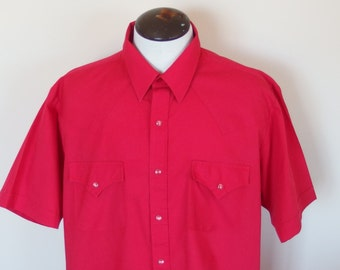Mens Vintage 1980s Red Western Short Sleeve Shirt by ELY