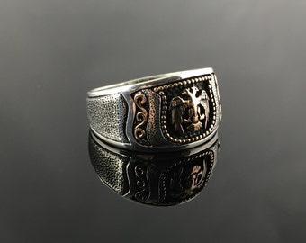 Handmade .925 Sterling Silver w/ filigree & Double Headed Eagle Mens Ring-US Seller - K4C