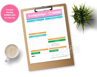 "Weekly budget planner insert, printable. Week expenses register. US Letter (8.5"" x 11"") Size, Portrait. Instant download."