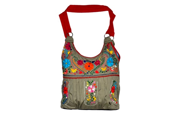 Mexican embroidered bag dress huipil