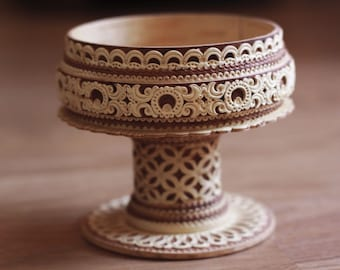 Birch Bark Vase for Jewelry Russian Ornament ring holder