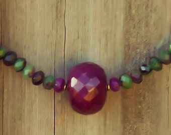 Ruby & Ruby Zoisite 14K Necklace