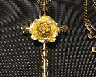 Golden Flower Cross
