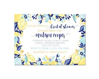 Lemon Bridal Shower Invite Printable Navy Blue Yellow Turquoise 5x7 Customizable Invitation Wedding Shower Floral Lemonade Invite