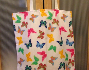 Handmade Pink Blue Green Butterly Patterned Medium Sized Foldaway Tote Shopper School Beach College Bag