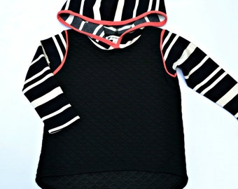 Limited Edition- Black Quilted Hoodie with Striped Sleeves and Coral Trim- Sizes 2T-12