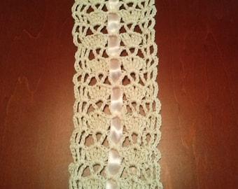 Ecru Thread Bookmark, pink ribbon