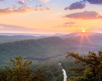 10x20 Central Pennsylvania Mountains Sunrise Landscape Photography Framed Print Home Decor