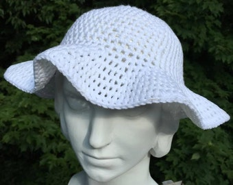 White Cotton Crochet Sunhat