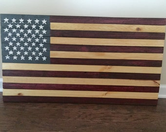Handmade Wooden American Flag, Stars and Stripes, reclaimed wood, patriotic, family made