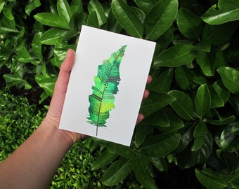 Green and Yellow Watercolour Feather Card, Watercolour Card, Printed Card