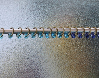 15 Piece Bronze Tone No Snag Stitch Markers Blue Knitter SMS654