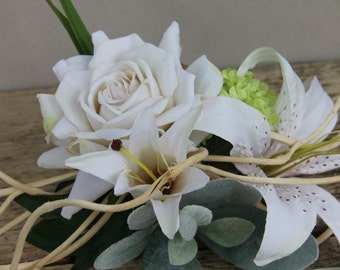 artificial flowers bouquet branch lily white