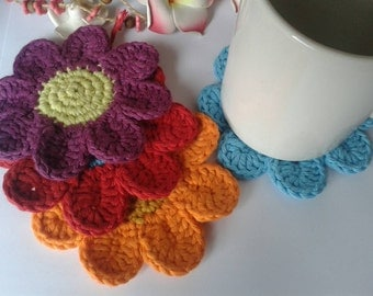 Set of 4 Pretty flower coasters, table coaster, garden coaster, table drinks mat 100 % cotton handmade beautiful gift. Bright colours.