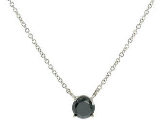 Black Diamond necklace.14k White Gold Necklace 0.50 Ct. AAA Quality Black Diamond.Solitaire Necklace.