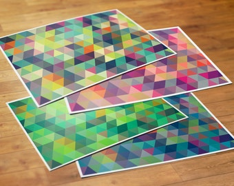 Colorful Geometric Pattern Note Cards, Set of 10 Cards