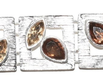 Sterling Silver Plated Rhinestone Petal Bracelet