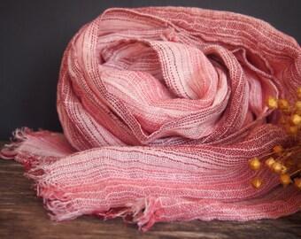 Linen Scarf, Red Striped Linen Women Accessories, Linen Gift