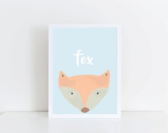 A4, A5 Pastel Fox Print - Nursery Decor