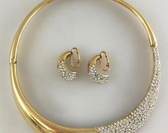 Vintage LANVIN PARIS Gold Choker & Earrings Set