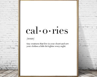 Calories Definition Print // Minimalist Poster // Wall Art Print // Typography // Fashion // Scandinavian Poster // Boho // Modern