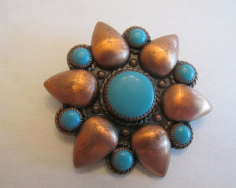 Beautiful Vintage Bell Trading Company Copper and Turquoise Brooch