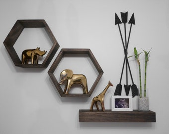 Set of 3 - Wall Shelving -  Geometric Hexagon Shelves - Honeycomb Shelves - Floating Shelf