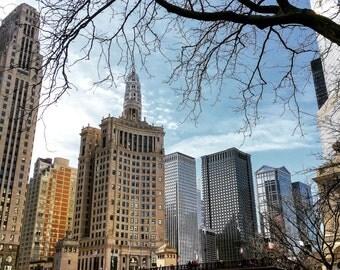 Michigan Avenue Bridge, Chicago River, Skyscrapers, Chicago Photography, City Photography, Chicago wall Art, Chicago Prints