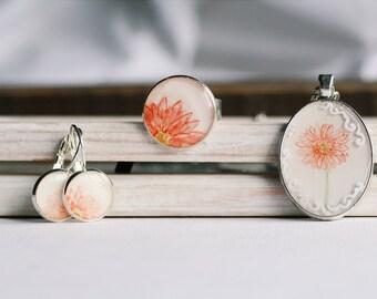 Watercolor flower set | necklace earrings ring | orange gerbera art pendant original painting jewelry unique handpainted handmade ooak