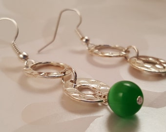 Silver Disk Earrings with Green Glass Beads