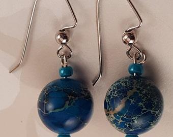 Mottled Blue Globe Earrings