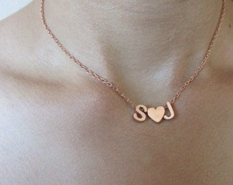 Initial Necklace, Two Initial Necklace- Valentines Initial Necklace, Bride and Groom Initial Necklace, Initials With Heart or and