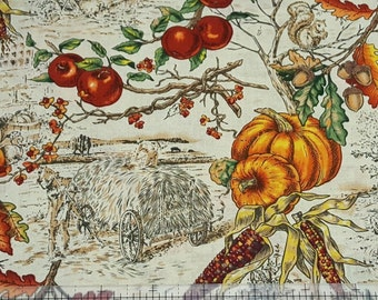 "Autumn Fabric: L'Automme Toile Large Allover - Farm corn pumpkins fabric  100% cotton Fabric by the yard 36""x44"" (K117)"