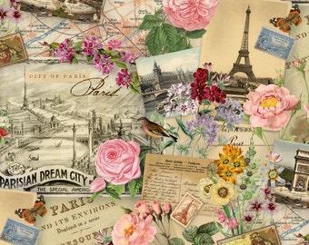 "Paris Fabric: Spring In Paris Eiffel Tower - Parisian Dream City Elizabeth's Studio  100% cotton fabric by the yard 36""x43"" (K137)"
