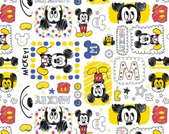 "Disney Fabric, Cartoon Fabric: Baby Mickey Mouse on White 100% cotton Fabric by the yard 36""x43"" (A74)"