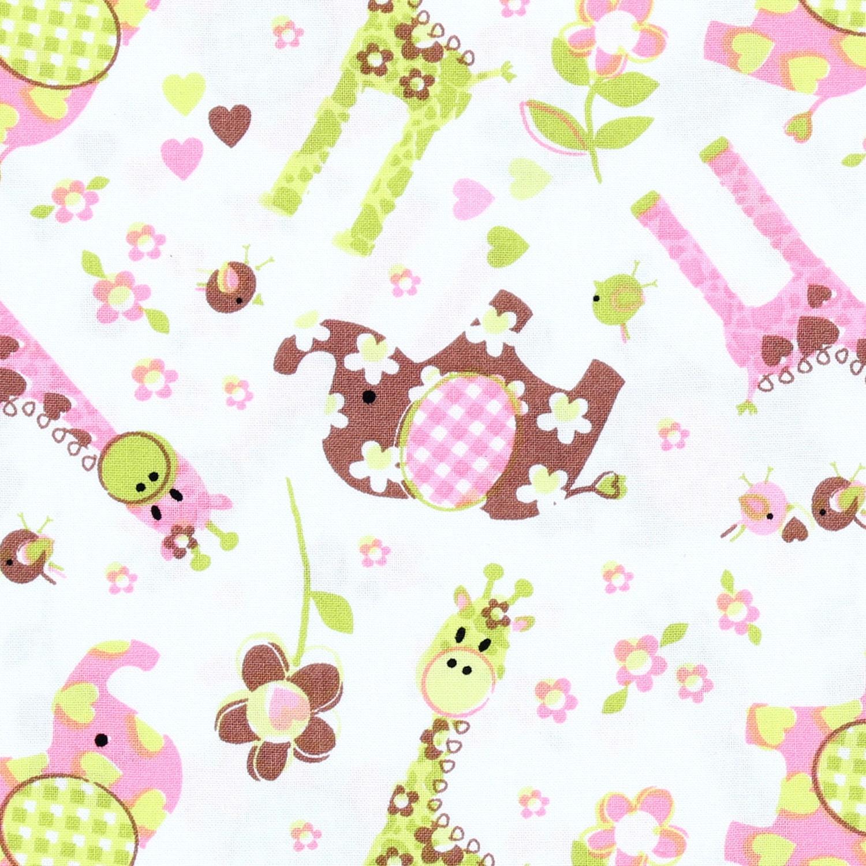 Nursery fabric best friends giraffe elephant toss 100 for Nursery cotton fabric