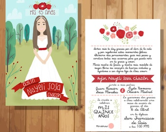 INVITATIONS with personalized illustrations for different occasion (wedding, Quinceanera, Baby Shower)