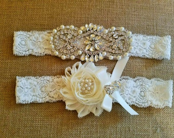 Wedding garter, Bridal Garter Set - CRYSTAL Pearl Wedding Garter Set