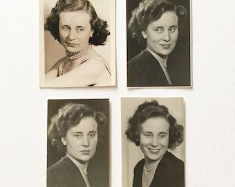 4 x studio photographs of the same woman. Original vintage black and white small studio prints