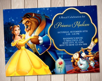 Beauty and the beast Invitation - Disney Beauty and the Beast Printable Birthday Invitation - Princess Belle Party Invitation