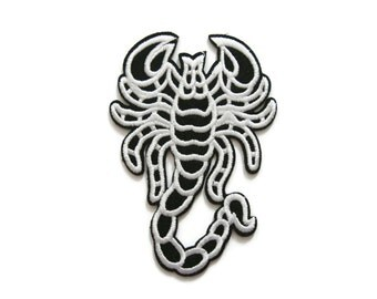 Scorpion Embroidered Applique Iron on Patch 6.5 cm. x 9.3 cm.