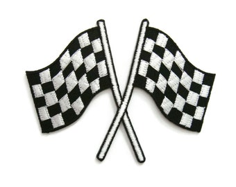 Racing Checkered Crossed Flags Embroidered Applique Iron on Patch 8.8 cm. x 7 cm.