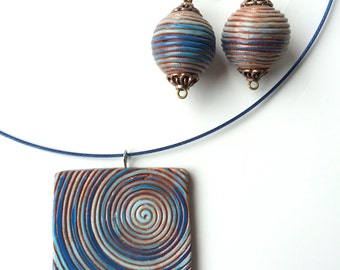 Swirl Blue and Copper polymer clay  jewellery set - pendant necklace and earrings - jewelry