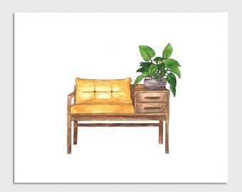 Bench Seat Watercolor Art Print