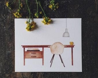 Desk Watercolor Art Print